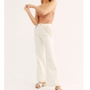 Free People Over The Rainbow Flare White Jean